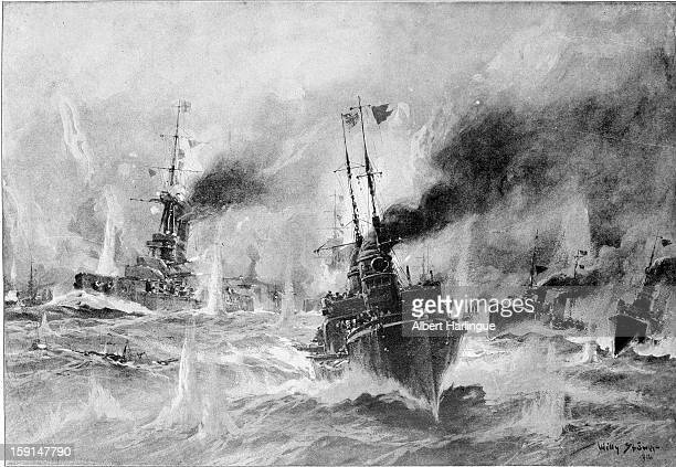 World War I Torpedo attack between the English and German fleets Drawing by the German painter Willy Stöwer in the 'Illustrierte Zeitung' of Leipzig
