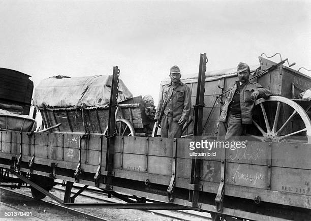 transport of AustroHungarian troups to the eastern front soldiers on a goods waggon 1916