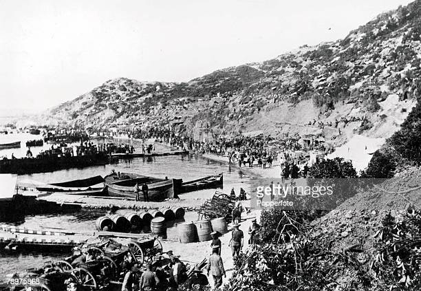 World War I Turkey Australian and New Zealand army members landing on the beach at Anzac cove during the invasion of Gallipoli