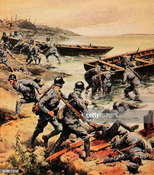 World War I . Withdrawal of the Austro-Hungarian troops trying to cross a river. Drawing by Achille Beltrame . La Domenica de Corriere, 1918. Color.