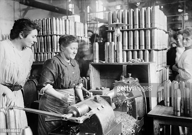 World War I Women turning shells in an ammunition factory