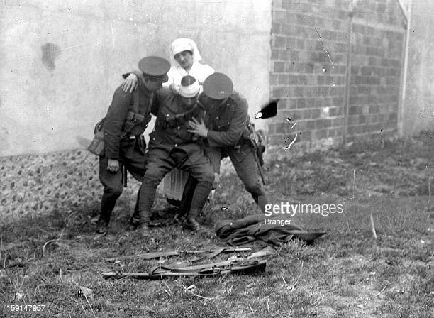 World War I Wounded English soldier on a battlefield France 1915
