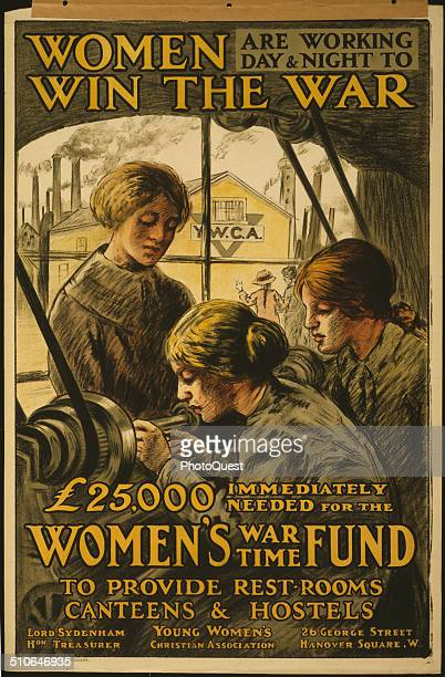 World War Iera British poster Poster showing women working at a lathe in a factory complex with a YWCA structure visible through the window by...