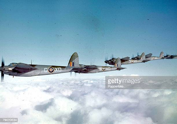 World War II 10th February 1943 De Havillard Mosquito B IVs of No 139 Squadron RAF Bomber Command flying in formation