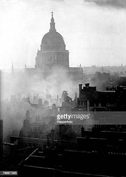 World War II 12th March A general view of the City of London with St Paul's Cathederal swathed in smoke after a bombing raid by the German Luftwaffe