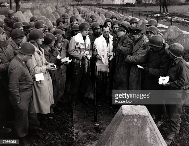 World War II 13th December 1944 An American religious service taking place at the Siegfried Line a defensive line built by Germany near Aachen Germany