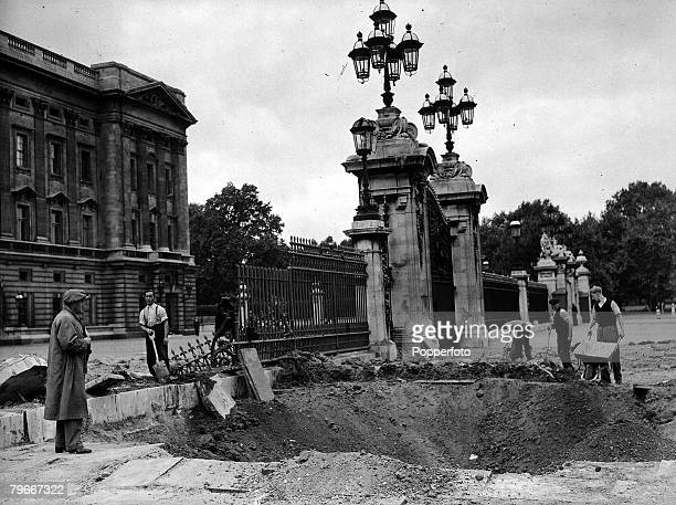 World War II 14th September Battle of Britain London England A huge bomb which fell outside Buckingham Palace home of the Royal Family made a crater...