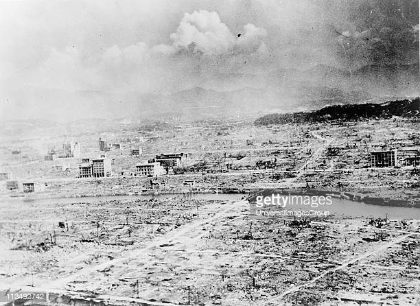 World War II 19391945 View of the city of Hiroshima Japan after the explosion of the atomic bomb 6 August 1945 US Army photograph Warfare Nuclear...