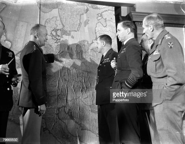 World War II 1st February 1944 London England Members of the Allied Supreme Command are pictured in their London Headquarters LR General Dwight...