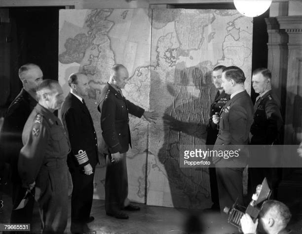 World War II 1st February 1944 London England Supreme Allied Commander General Dwight Eisenhower discusses the Invasion of Europe during World War II...