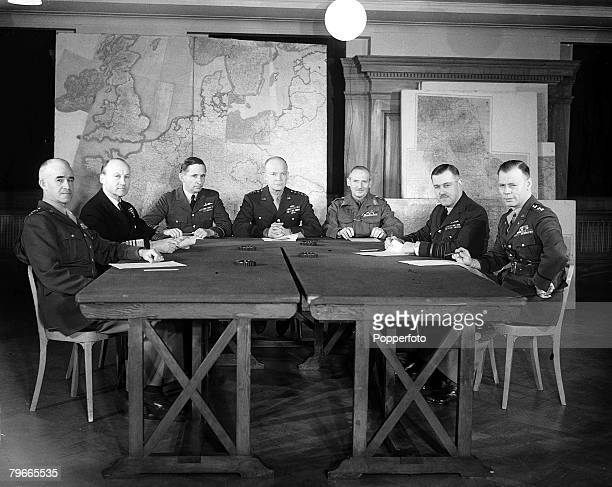 World War II, 1st February 1944, London, England, The Allied Supreme Command pictured for the first time at their Headquarters, Lto R: Lieutenant...