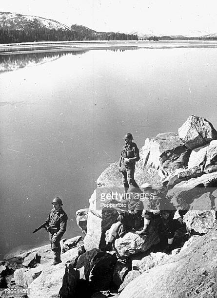 World War II 23th May 1940 Norway French alpine troops keeping watch over a fjord at Narvik