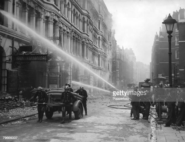 World War II 25th September 1940 London England Firemen battle to control fires after German bombing in Chancery Lane
