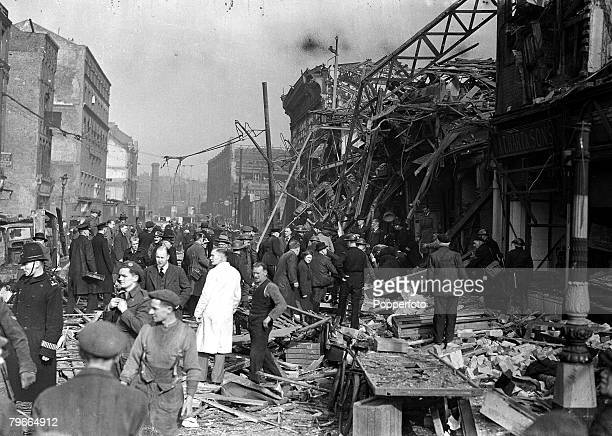 World War II 26th April 1945 One of London last and worst V2 incidents The picture shows a general view looking toward Farringdon road near...