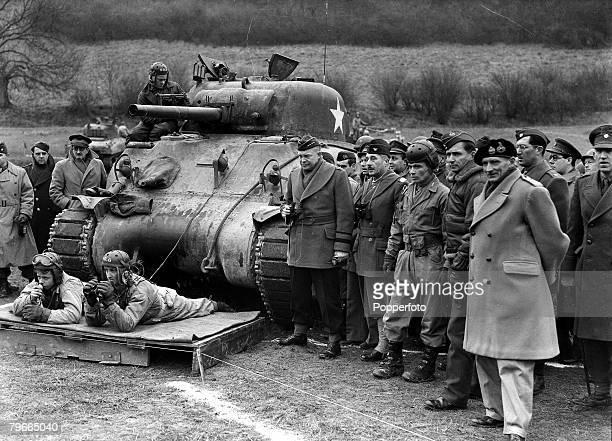 World War II 26th February 1944 England Supreme Allied Commander General Dwight Eisenhower watching preNormandy invasion manoeuvres 'somewhere in...