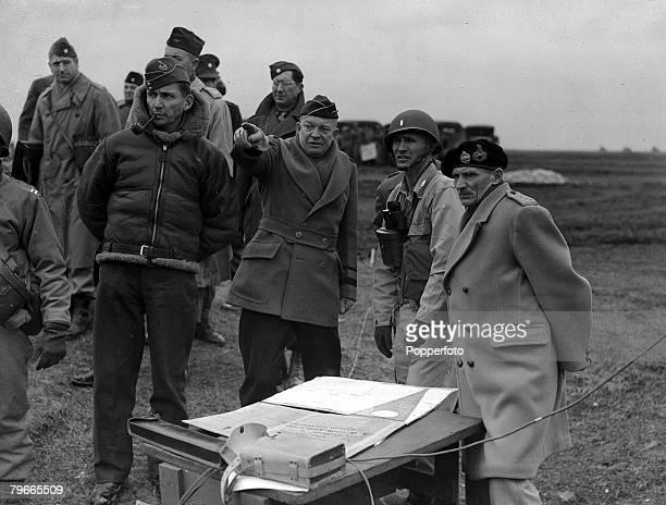 World War II 26th February 1944 England Supreme Allied Commander General Dwight Eisenhower with Deputy Commander Air Chief Marshal Sir Arthur Tedder...