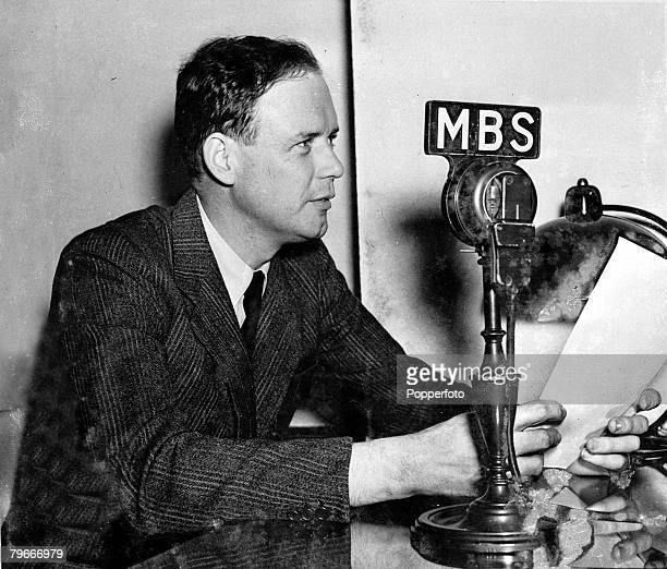 World War II 26th October 1939 Washington DC USA Colonel Charles A Lindbergh broadcasts in Washington as he attacks Canada for 'dragging the Western...