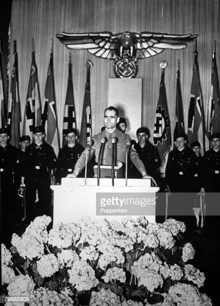 World War II, 28th April 1940, Rudolf Hess , Hitler's deputy pictured speaking at a meeting of the Hitler Youth in Berlin to celebrate Adolf Hitler's...