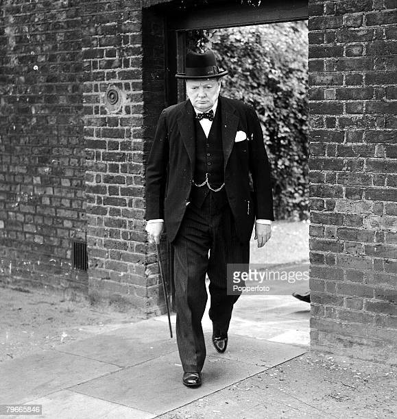 World War II 28th May 1940 British Prime Minister Winston Churchill pictured en route from Downing Street to make a statement in the House of Commons...
