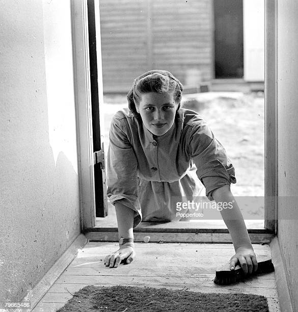 World War II 28th September 1941 Mary Churchill 18 year old daughter of British Prime Minister Winston is pictured scrubbing the Barrack room floor...