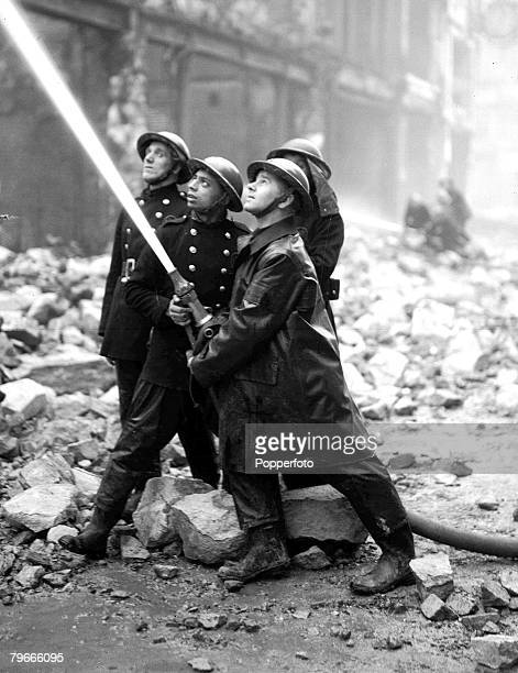 World War II 31st December 1940 Firemen fighting fires in the city of London after heavy German bombing during the second World War