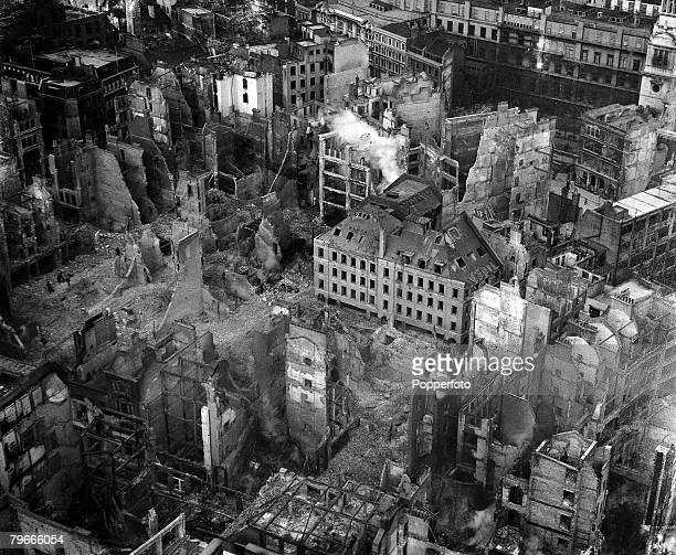 World War II 3rd January 1941 London England A dramatic picture taken from St Pauls Cathedral showing the immense damage to the City of London after...