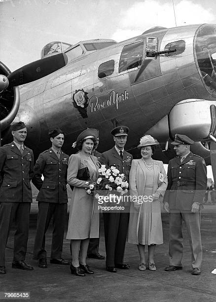 World War II 6th July 1944 England Princess Elizabeth King George VI and Queen Elizabeth with Lieutenant General James Doolittle the 8th Air Force...