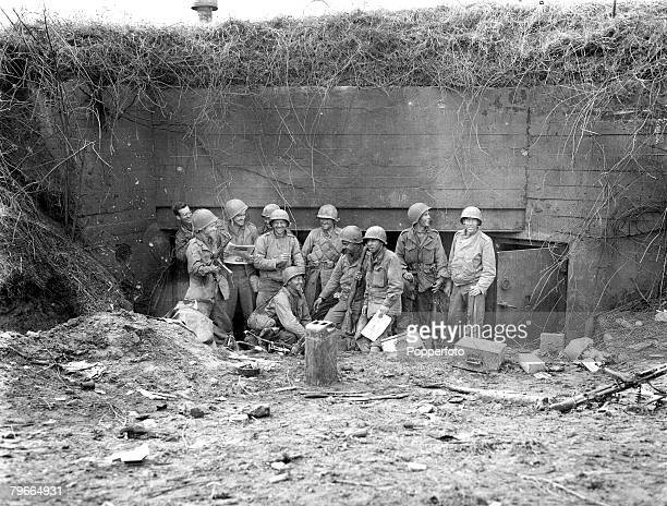 World War II 6th October 1944 American soldiers in front of a pillbox in the Siegfried line which they captured during the new offensive in the...