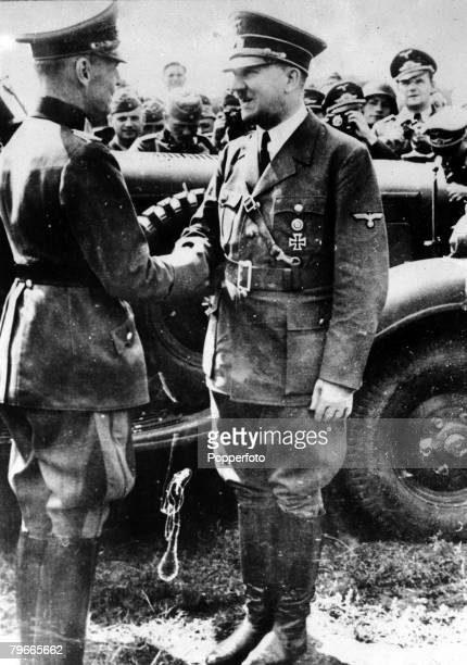 World War II 9th November 1941 German Chancellor and Nazi dictator Adolf Hitler shakes hands with Field Marshal von Rundstedt when Hitler visited the...