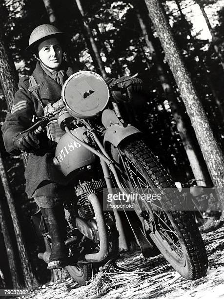 World War II A picture of an ATS girl motor-cyclist on her bike in training