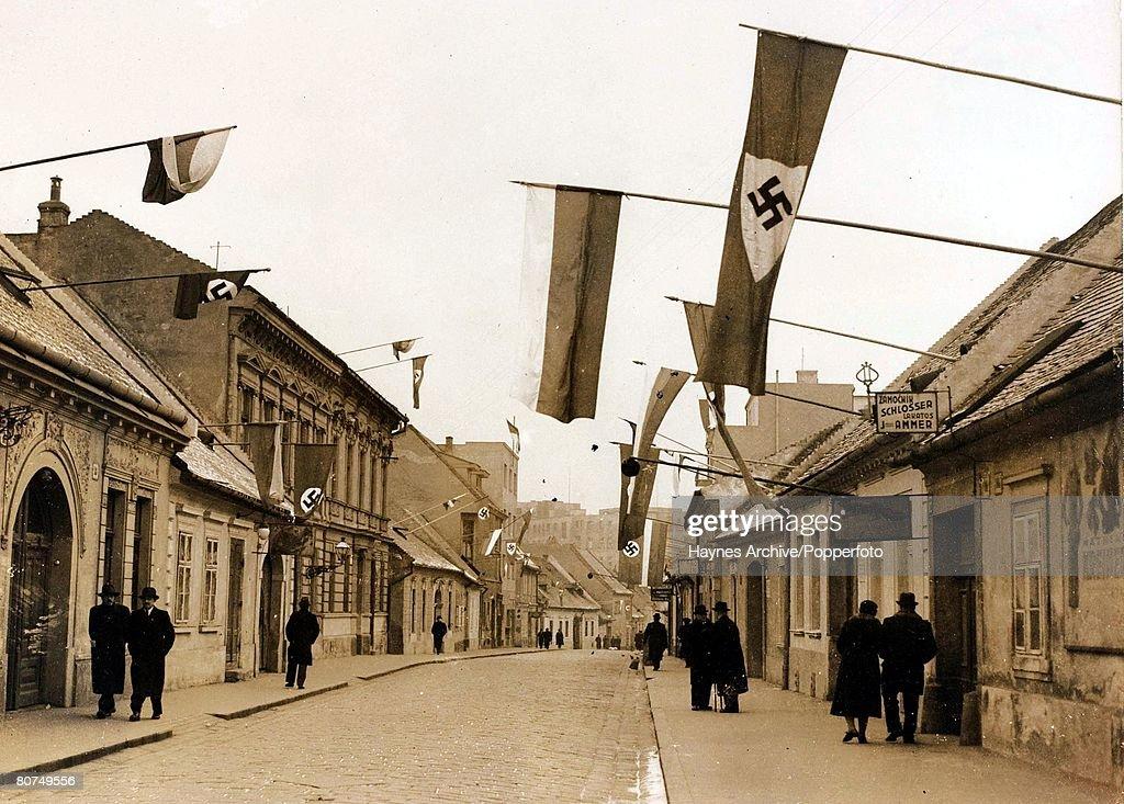 World War II A street in Bratislava, Czechoslovakia, with Nazi