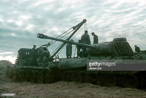 World War II A wrecker recovering a German Panther tank behind the Russian front no place given 1943/44 Photographer Wolff Tritschler Vintage...
