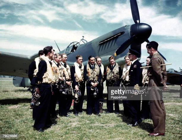 World War II Admiral DW Boyd meets a group of RAF pilots flying the Fairey Fulmar plane