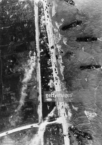 World War II Aerial view of a Normandy landing beach June