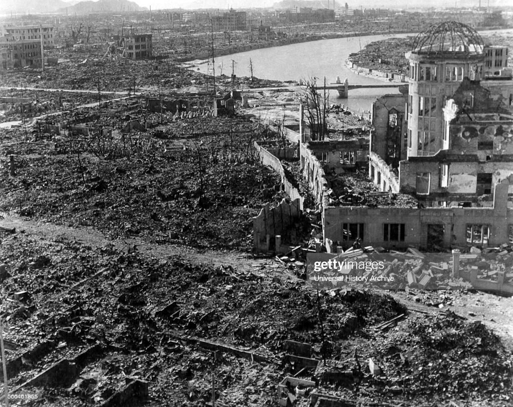 World War II, after the explosion of the atom bomb. : News Photo