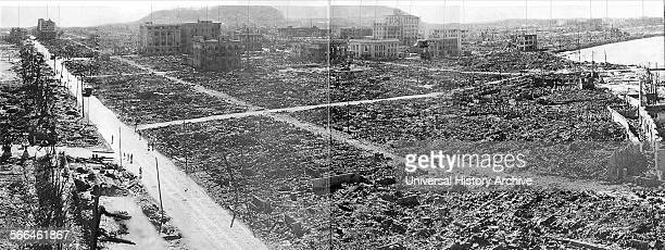 World War II, after the explosion of the atom bomb in August 1945, Hiroshima, Japan.
