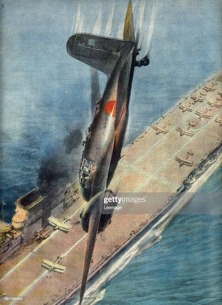 airman Japanese kamikaze rushes his plane on a British aircraft