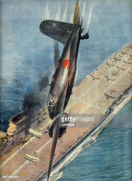 Airman Japanese kamikaze rushes his plane on a British aircraft carrier off the islands Nicobar and Andaman, Bay of Bengal, october 1944 Illustration...