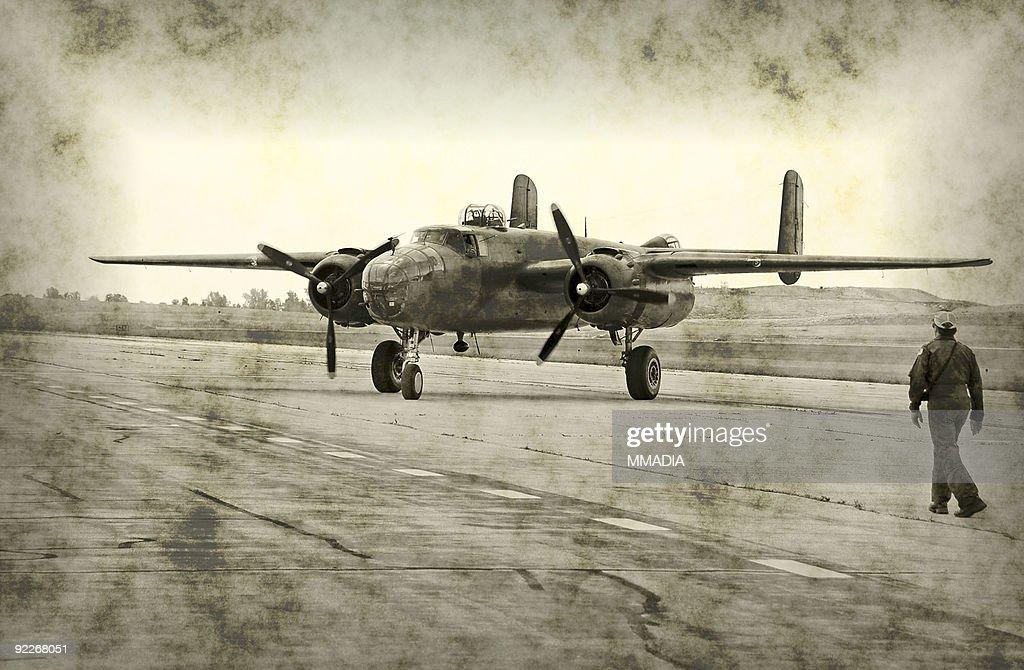 World War II airplane and pilot : Stock Photo