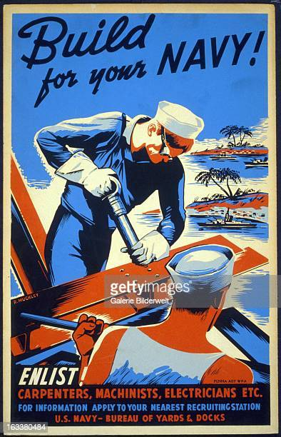 World War II American propaganda poster encouraging skilled laborers to join the Seabees as part of the war effortOriginal title Build for your Navy...