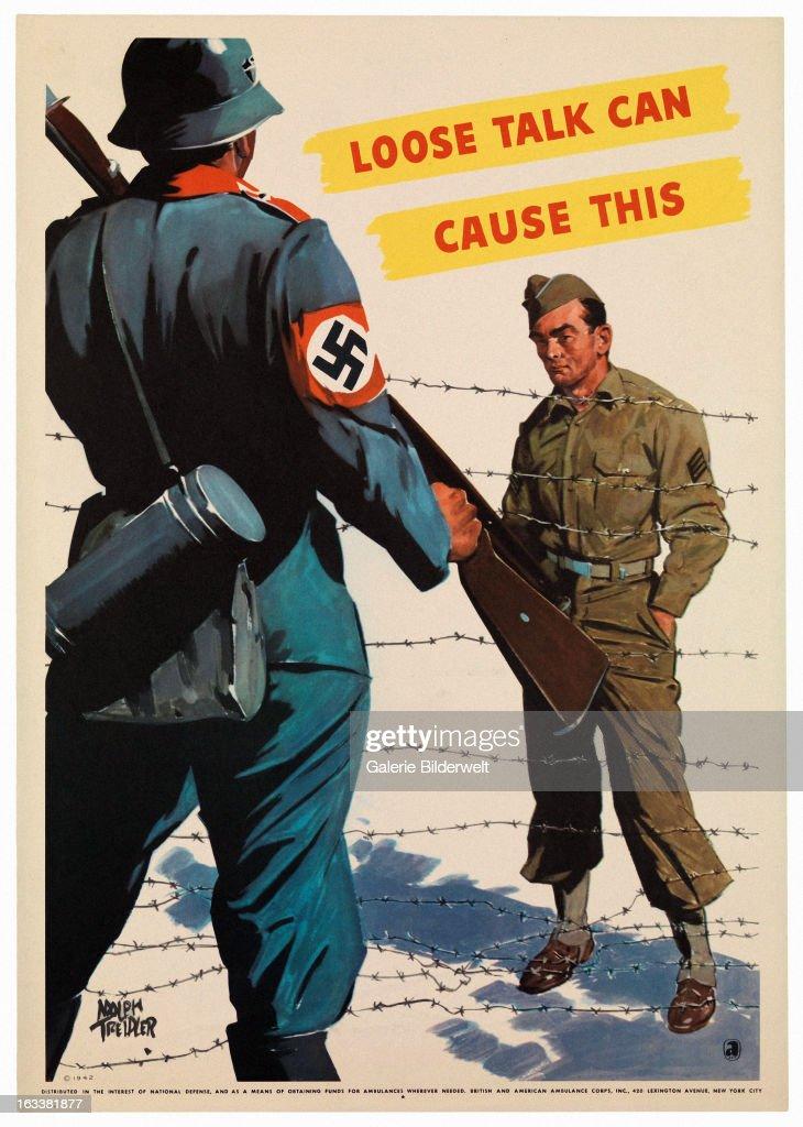 World War II, American propaganda poster showing a Nazi ...