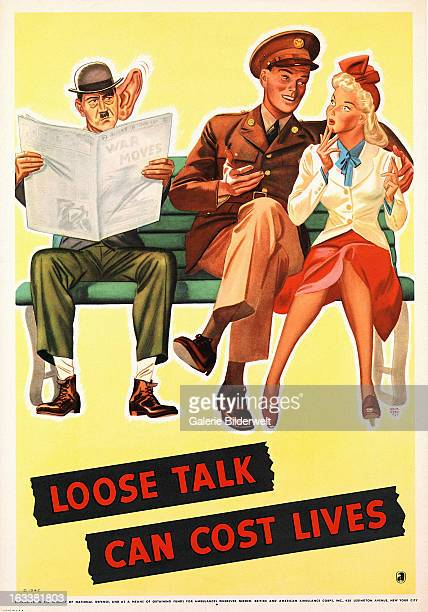 World War II American propaganda poster showing a serviceman who is trying to impress his girl by passing on information that may seem innocent but...