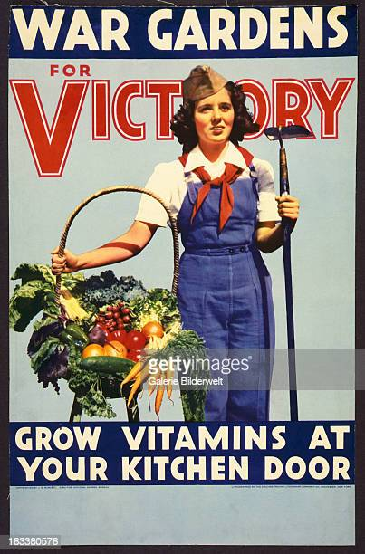 World War II American propaganda poster showing a woman standing with hoe and basket of vegetablesOriginal title War gardens for victory Grow...