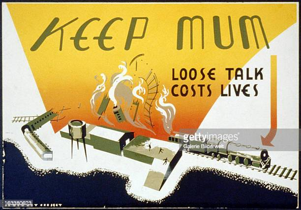 World War II American propaganda poster suggesting careless communication may be harmful to the war effort showing a train blowing up Original title...