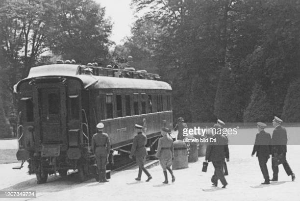Armistice between Germany and France of June 22nd, 1940 in the forest of Compiegne: the French delegation approaching the railway car where the...