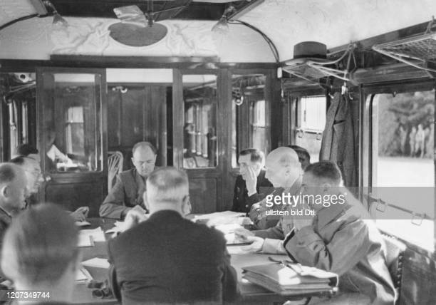 Armistice between Germany and France of June 22nd, 1940 in the forest of Compiegne: during the negotiations in the railway car. The armistice of 1918...