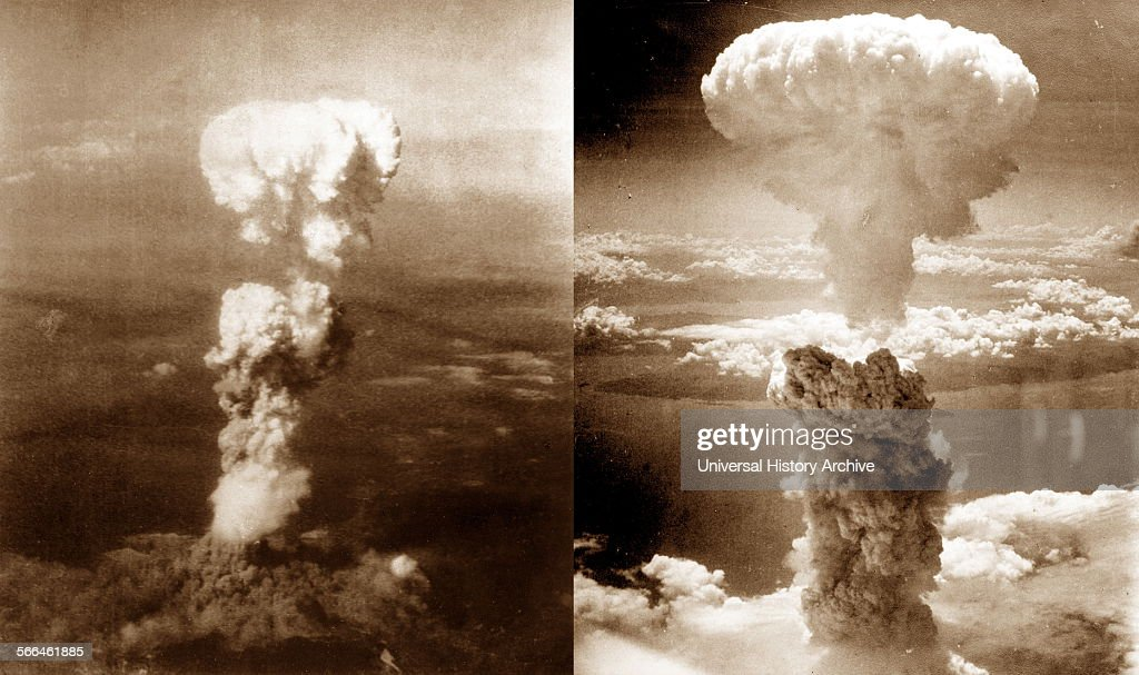 Atomic bomb mushroom clouds over Hiroshima (left) and Nagasaki : News Photo
