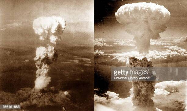 World War II Atomic bomb mushroom clouds over Hiroshima and Nagasaki August 1945 Japan