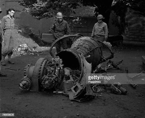 World War II Belgium 27th November 1944 The turbine engine and rear casing of a V2 rocket bomb which was only slightly damaged when discovered When...
