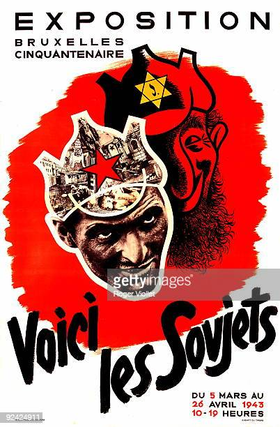 World War II Belgium AntiSemitic and antiBolshevik poster at an exhibition in Brussels MarchApril 1943
